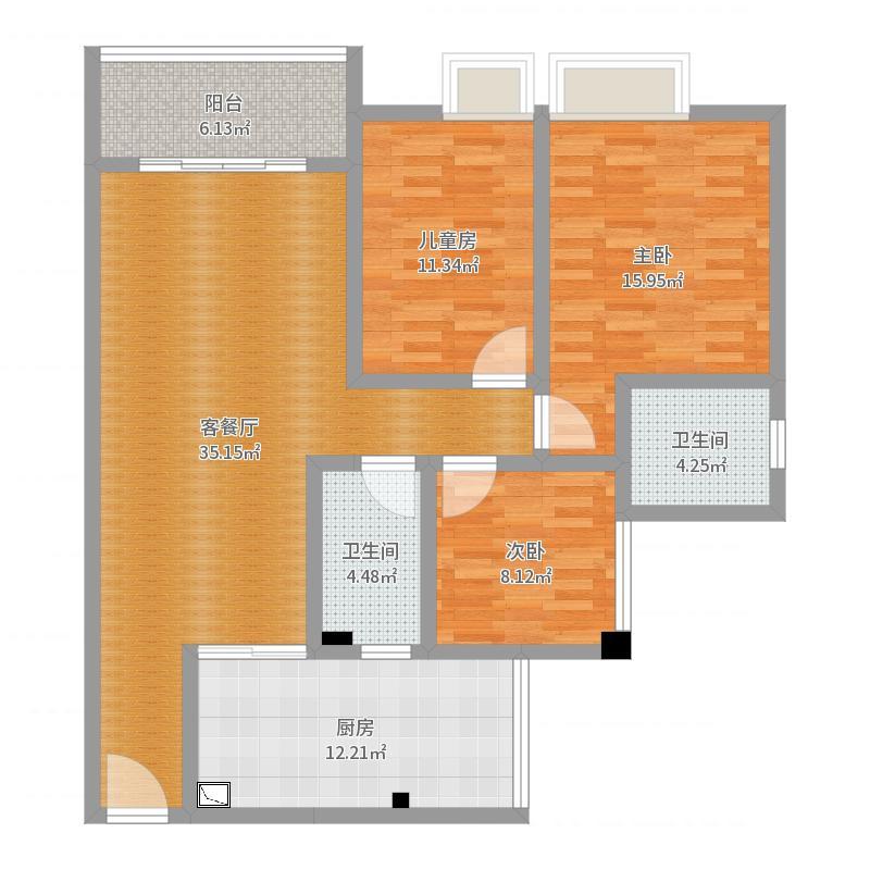 颐搏园8号楼601室刘先生户型图