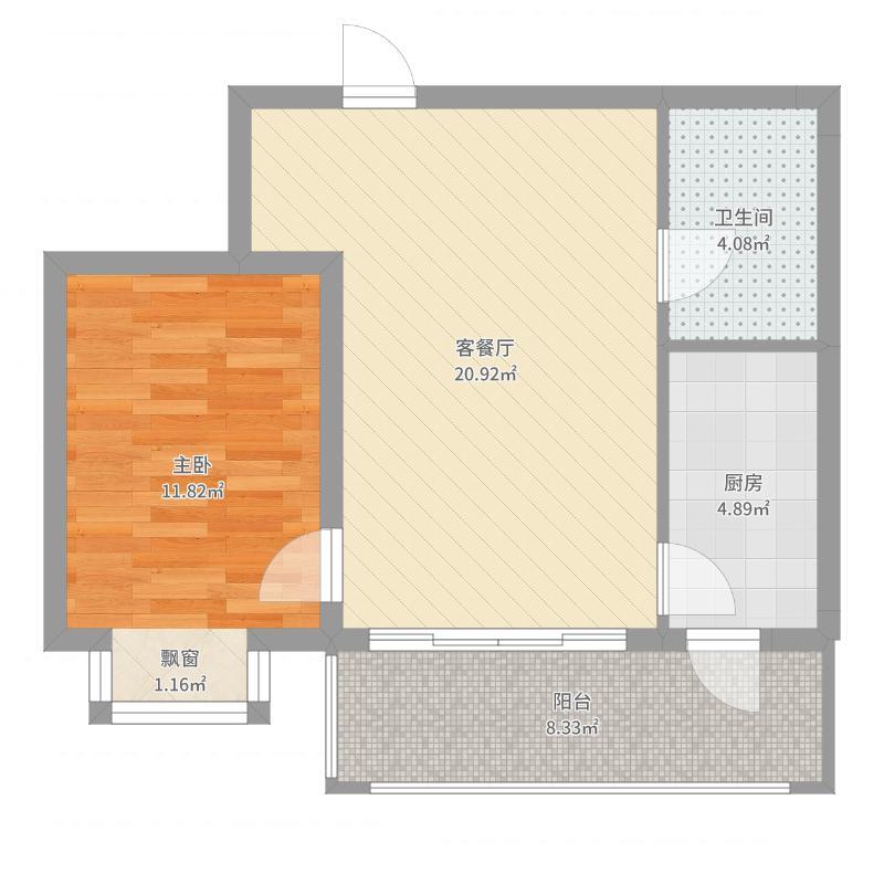 松浦观江国际64.40㎡R户型1室1厅1卫1厨-副本户型图
