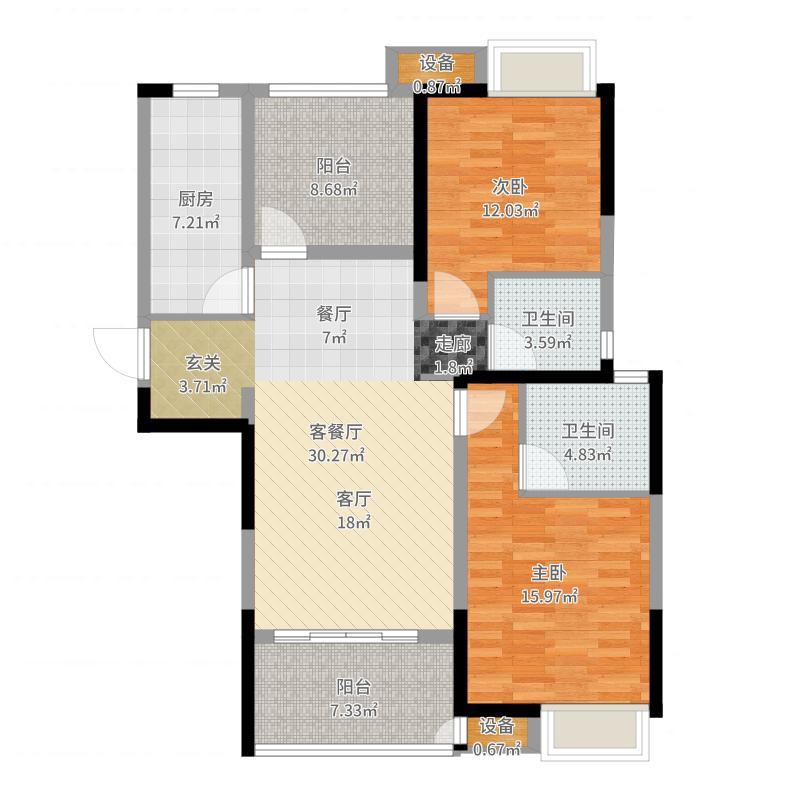 绿地香奈105.86㎡C户型御金香3房2厅2卫105.86平米户型3室2厅2卫-副本户型图
