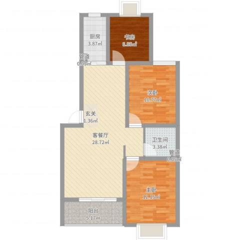 奥梅花园3室2厅1卫1厨89.00㎡户型图
