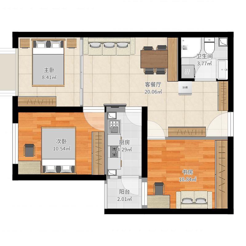 北京_东洲家园_20170818三居室-次卧改客厅户型图