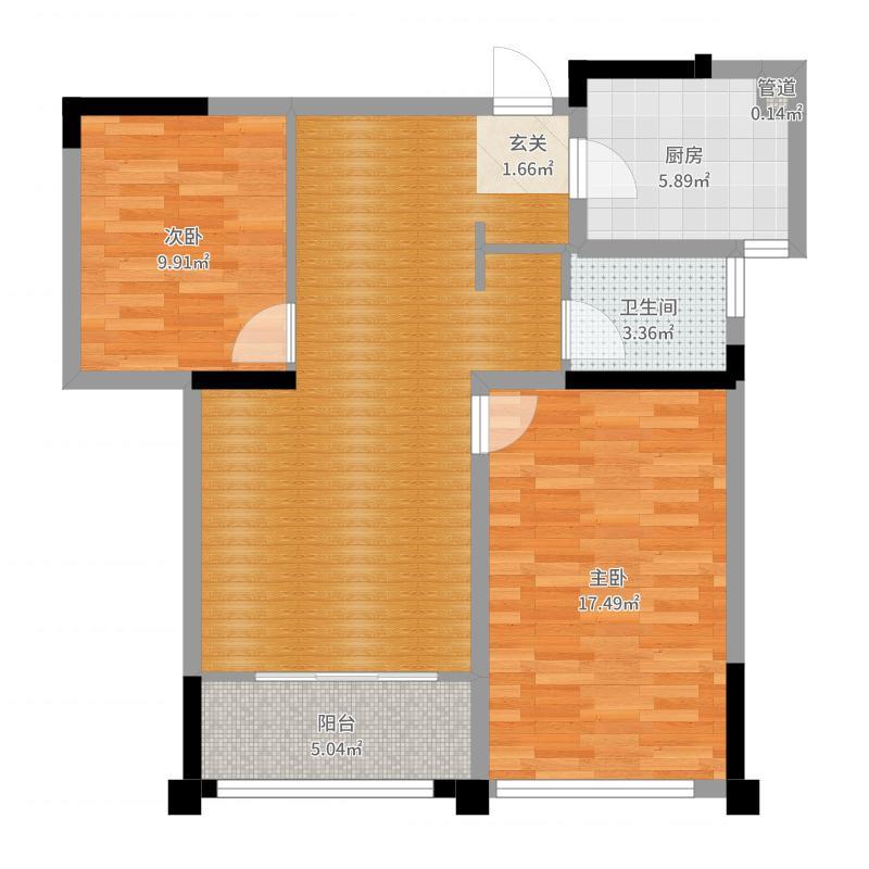 爱涛尚书云邸87.00㎡B2户型2室2厅1卫1厨户型图