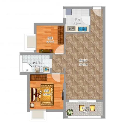 丽水佳园2室2厅1卫1厨67.00㎡户型图