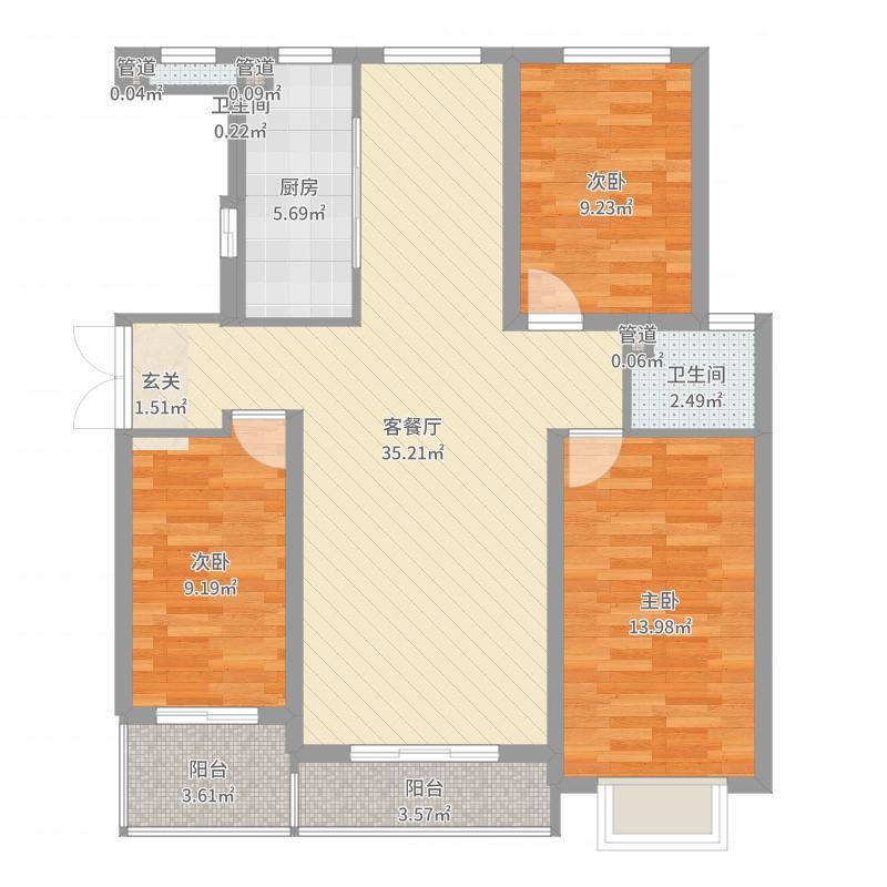 香江・巴黎印象户型3室2厅2卫1厨户型图