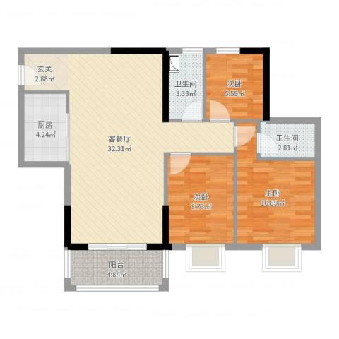 景湖花园3室2厅2卫1厨91.00㎡户型图