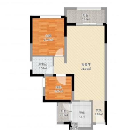 山水新城2室2厅1卫1厨82.00㎡户型图