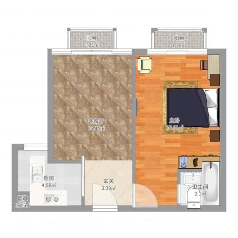 谢岗山水花城1室2厅1卫1厨54.00㎡户型图