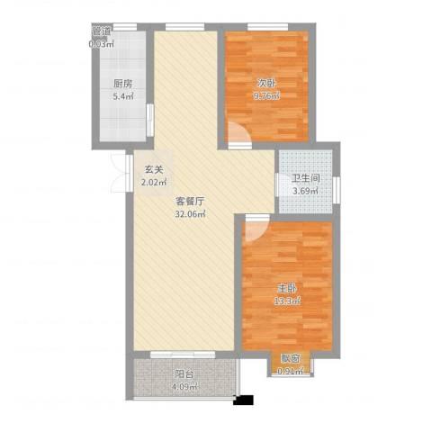 四季新城北苑2室2厅1卫1厨85.00㎡户型图
