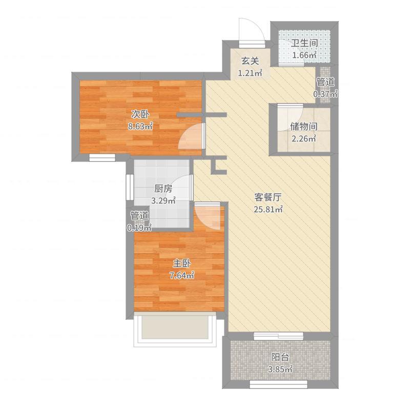 七贤贡院项目77.70㎡4号楼D户型2室2厅1卫1厨-副本户型图