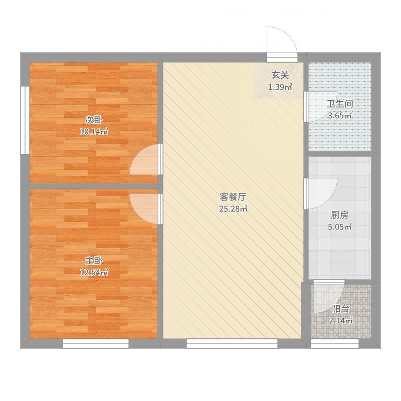 梧桐郡84.95㎡B户型2室2厅1卫1厨户型图