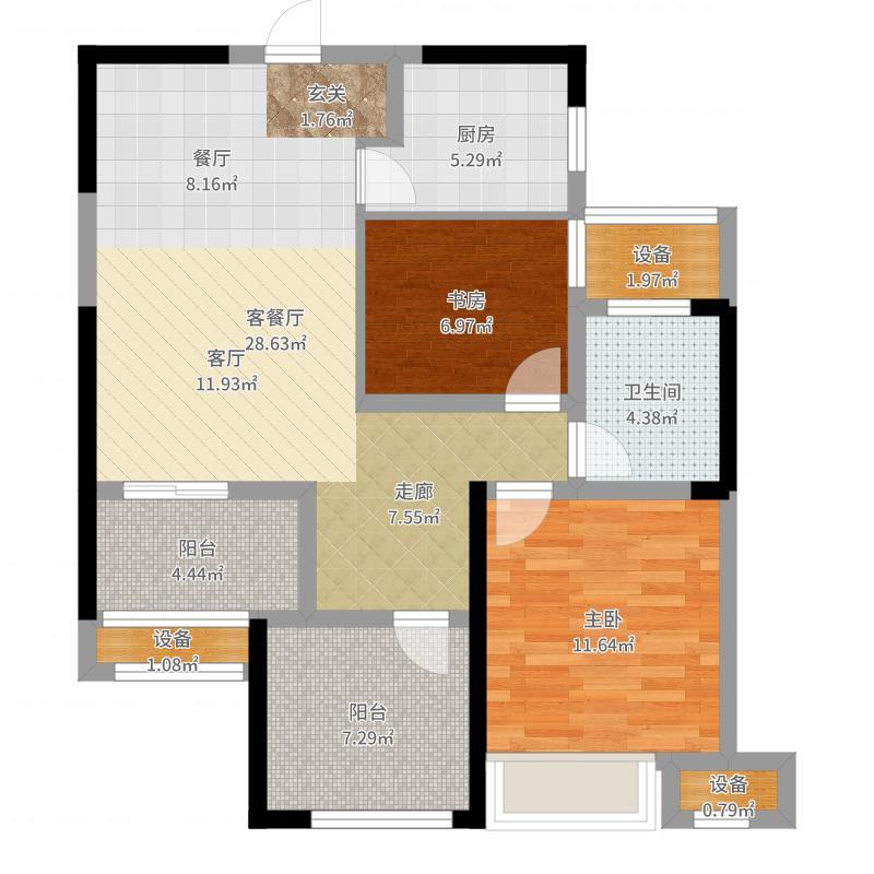 绿地香奈85.80㎡B户型风信子3房2厅1卫85.8户型3室2厅1卫-副本户型图