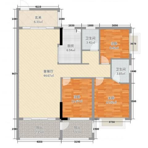 德雅园2栋2号户型3室2厅2卫1厨139.00㎡户型图