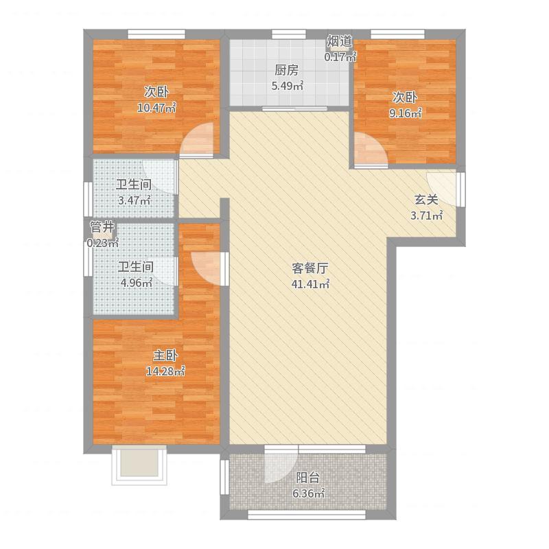 首开・国风悦都119.00㎡9#、10#F4三居户型3室3厅2卫1厨-副本户型图