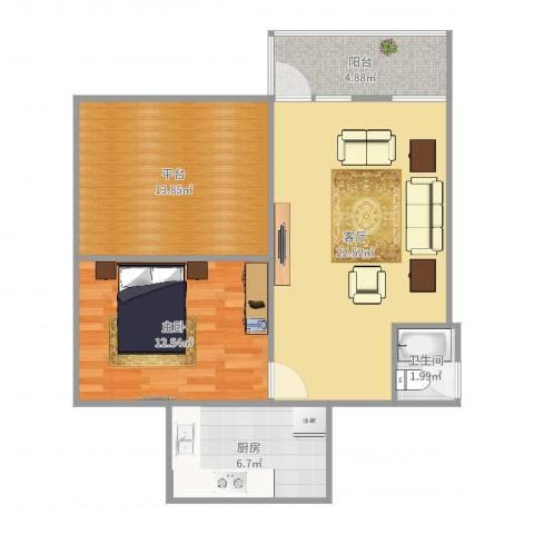 浦东三村1室1厅1卫1厨78.00㎡户型图