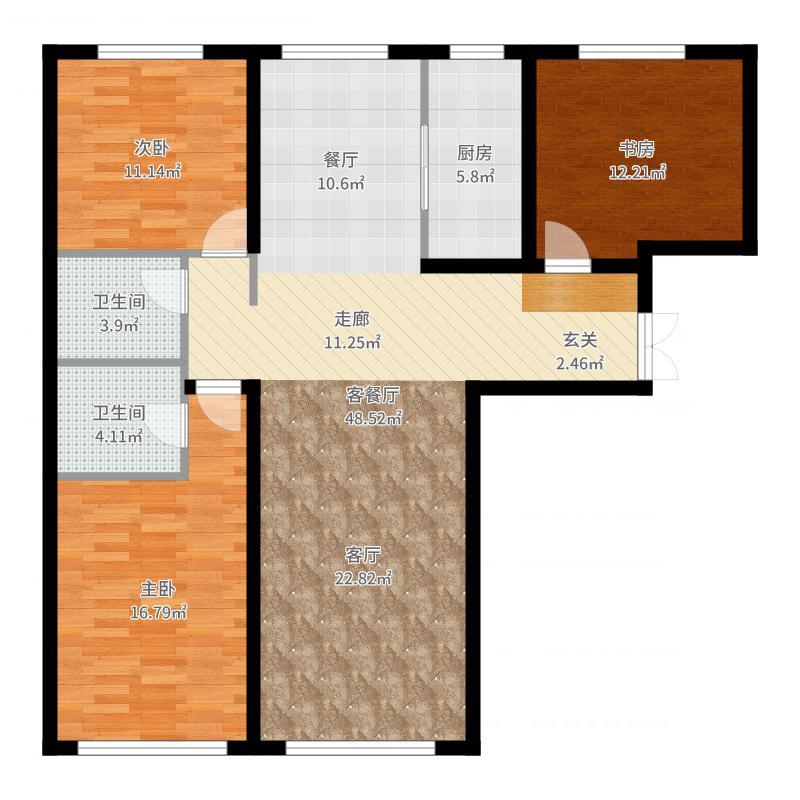 善上居L1户型3室2厅-副本户型图