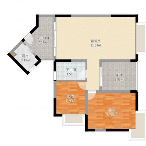 新世纪丽江豪园五期牡丹阁2室2厅1卫1厨100.00㎡户型图