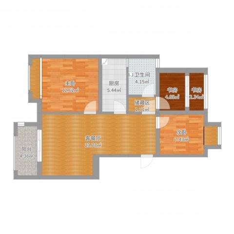 绿地芳满庭4室2厅1卫1厨86.00㎡户型图