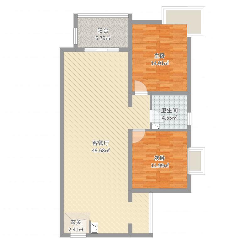 华信山水文苑106.52㎡一期标准层D2户型2室2厅1卫1厨-副本户型图