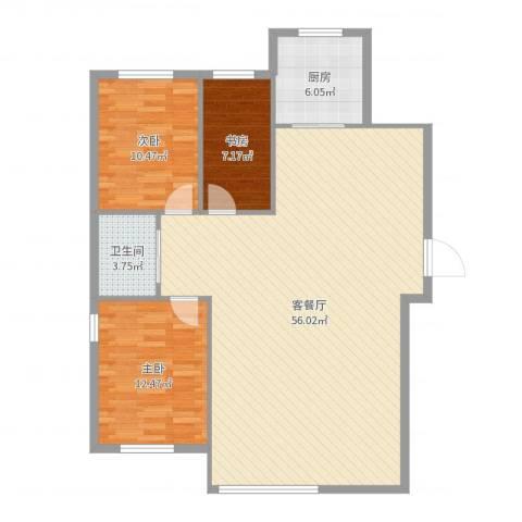 富甲之邦3室2厅1卫1厨120.00㎡户型图