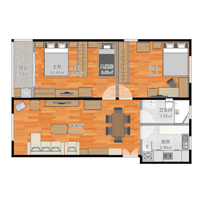 金顺小区89平方三室一厅的装修(玻璃隔断儿童房)-副本户型图