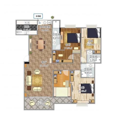 红棉新村3室1厅3卫1厨176.00㎡户型图
