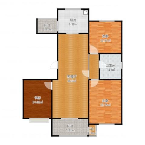 绿地香树花城3室2厅1卫1厨144.00㎡户型图