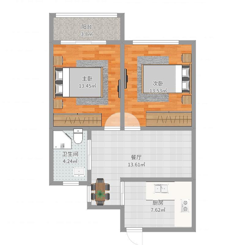 长中小区双南两房户型图