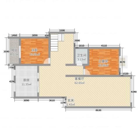 金地华园2室2厅1卫1厨107.58㎡户型图