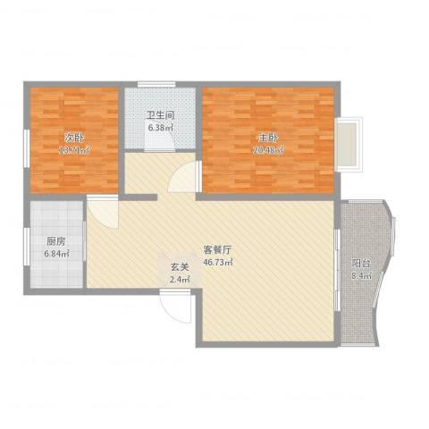 特变・阳光绿景2室2厅1卫1厨128.00㎡户型图