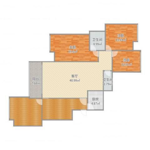 五星华府3室1厅2卫1厨168.00㎡户型图