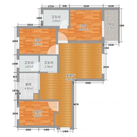 新滨江花园3室2厅3卫1厨87.00㎡户型图