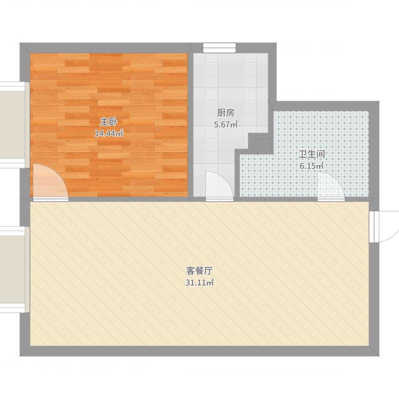 金海国际户型1室1厅1卫1厨-副本户型图
