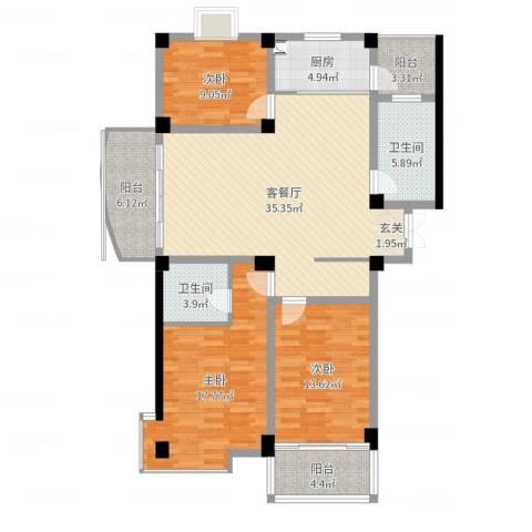 紫溪花园3室2厅2卫1厨130.00㎡户型图