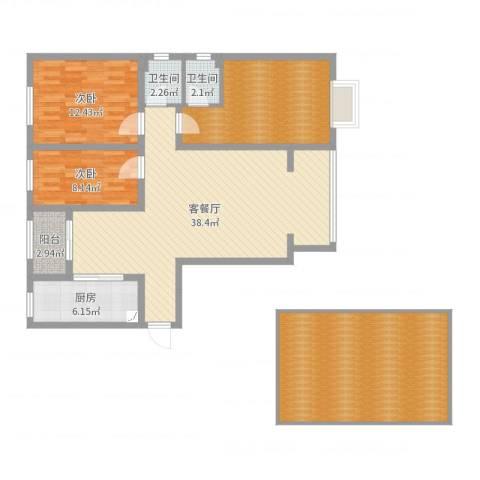 天鸿尚都2室2厅2卫1厨142.00㎡户型图