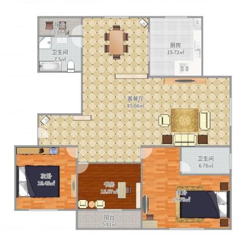 金桂苑18-1-16023室2厅2卫1厨237.00㎡户型图