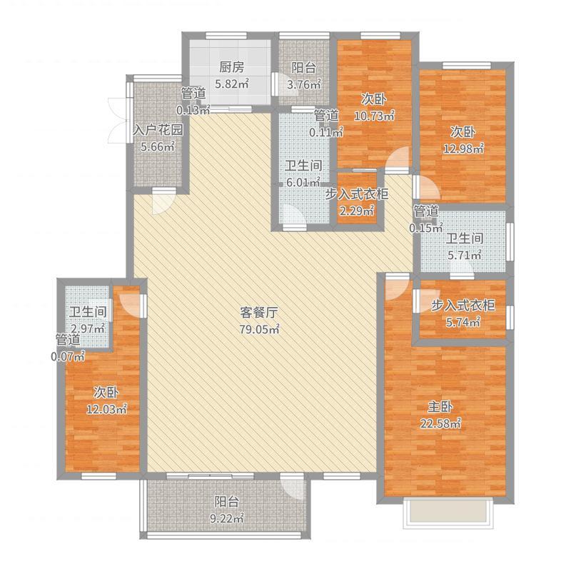 美林书院232.00㎡A4户型4室4厅3卫1厨户型图