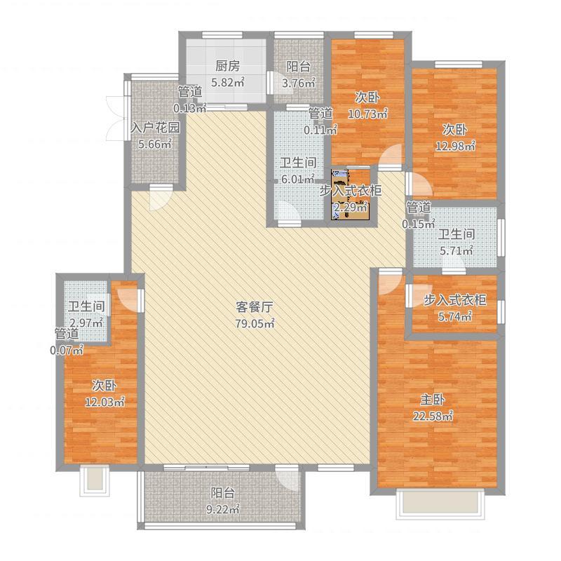美林书院232.00㎡A4户型4室4厅3卫1厨-副本户型图