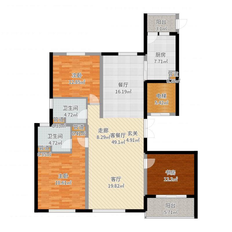 铂金时代142.32㎡1#2#楼A1户型3室2厅2卫1厨-副本户型图