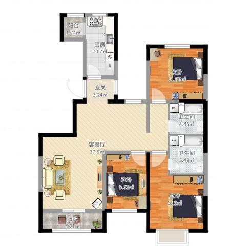 北辰墅院19003室2厅2卫1厨120.00㎡户型图