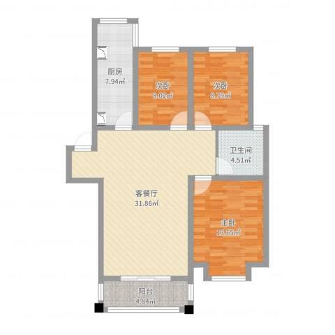 东城水岸3室2厅1卫1厨100.00㎡户型图