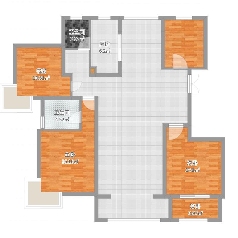 国基城邦143.00㎡25#楼3-17奇数层4户型3室2厅2卫1厨户型图