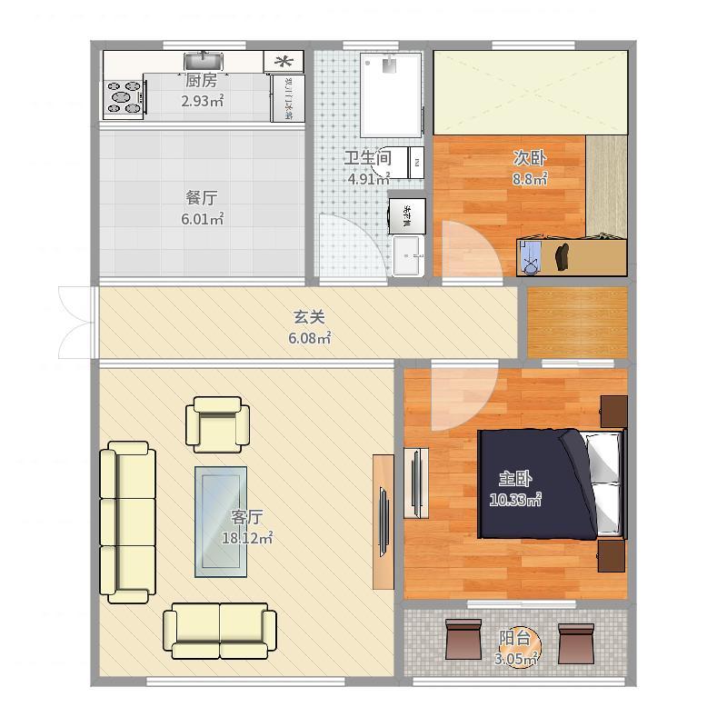 华海城户型1厅1卫1厨户型图