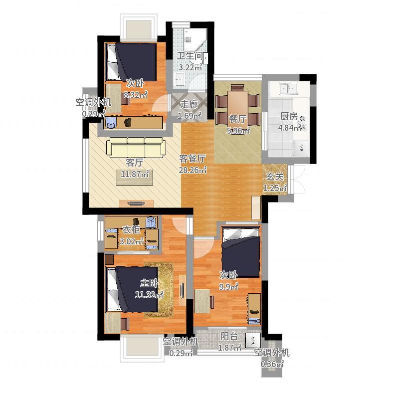 韵佳苑B3户型5#标准层04室约112平户型3室2厅1卫-二改三户型图