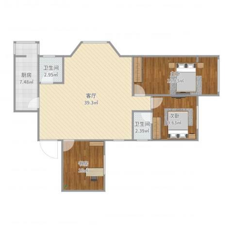 玺萌丽苑3室1厅2卫1厨109.00㎡户型图