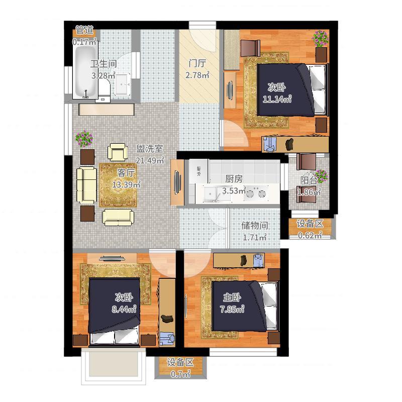 东洲家园90.00㎡1-6号楼中间户B户型2室2厅户型图