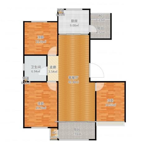 绿地香树花城3室2厅1卫1厨147.00㎡户型图