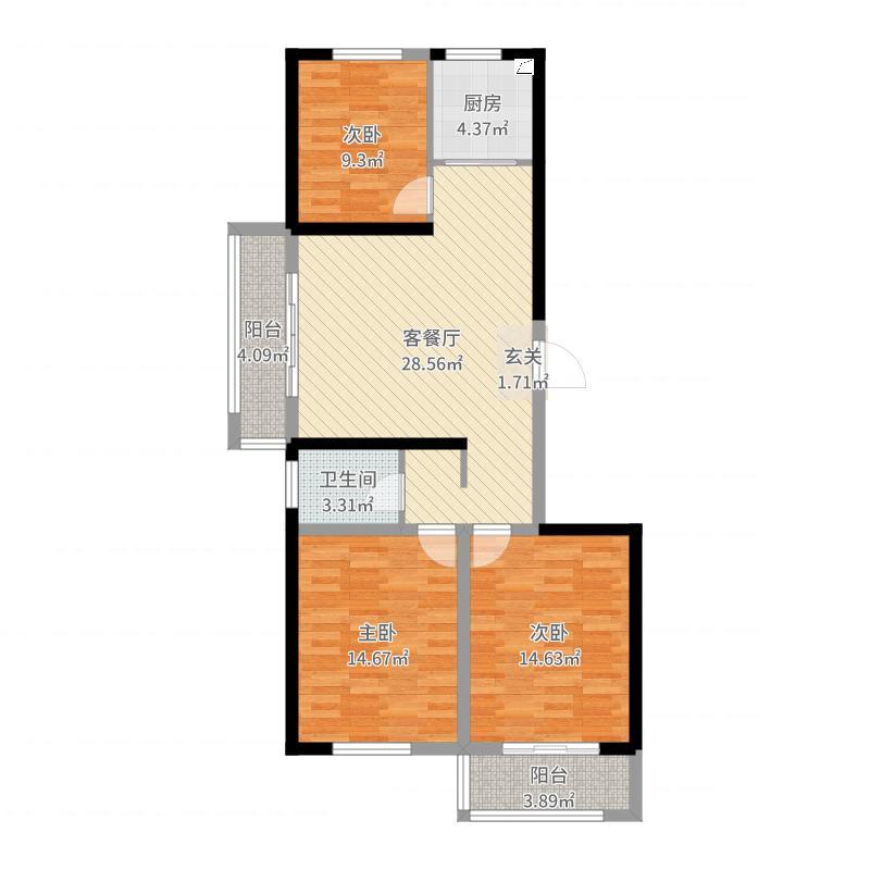 金港丽城4-1-801橱柜户型图