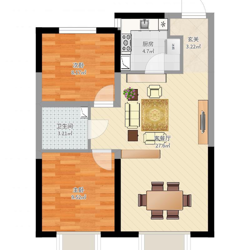 月星中央公园82.00㎡F2户型2室2厅1卫1厨户型图