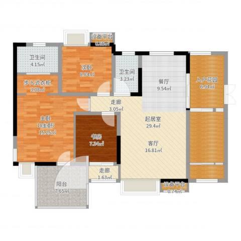 宇界维诗卡3室1厅4卫2厨122.00㎡户型图