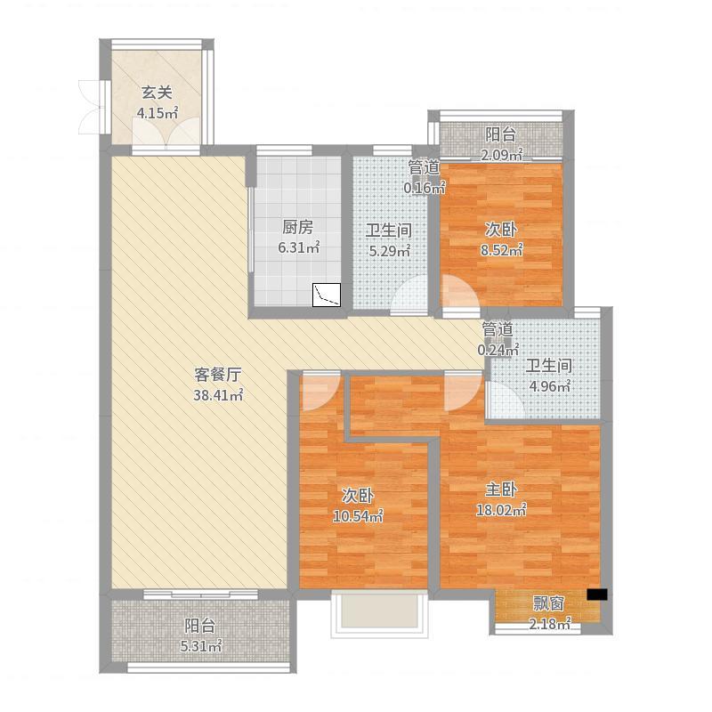 无锡万达文化旅游城130.00㎡荣域C1户型3室3厅2卫1厨户型图